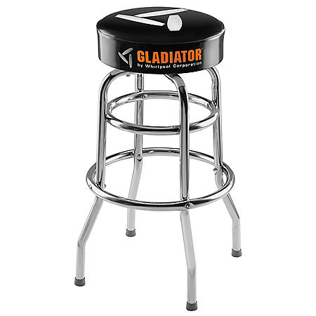 Gladiator Ready To Assemble Padded Swivel Garage Stool in Black and Chrome