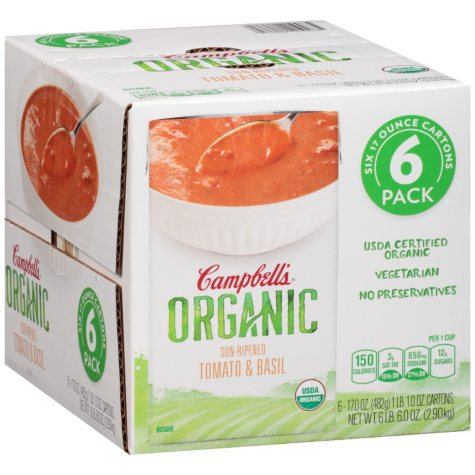 Campbell's Organic Sun-Ripened Tomato & Basil Bisque (17 oz., 6 ct.)