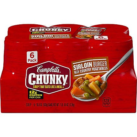 Campbell's Chunky Sirloin Burger with Country Vegetables Soup (18.8 oz., 6 pk.)