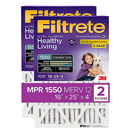 "Filtrete Allergen Reduction Filter for 4"" Housings, 16"" x 25"" x 4"" (2 Pack)"