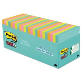 """Post-it Notes Super Sticky Pads, 3"""" x 3"""", Miami Color Collection, 24 Pads, 1,680 Total Sheets"""