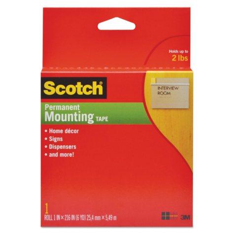 "Scotch Foam Mounting Double-Sided Tape, 1"" x 216"""