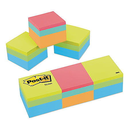 Post-it Notes - Mini Cubes, 2 x 2, Green Wave, 400/Pad -  3 Pads/Pack