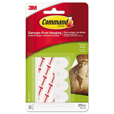 Command Poster Strips Small White 48ct