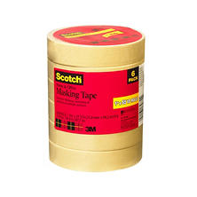 "Scotch® Masking Tape, 1"" x 55yds, 3"" Core, Tan, 6-pk."