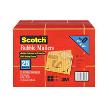 "Scotch Bubble Mailers, Size 0, 6"" x 9"", 25pk."