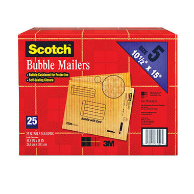 Scotch Bubble Mailers, size 5, 10.5