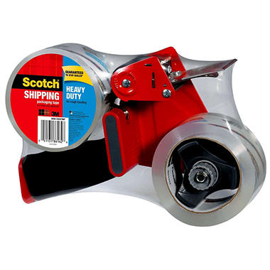 Scotch Heavy Duty Shipping Tape Dispenser w/ 2 Rolls of Tape, 1.88in x 60 yds
