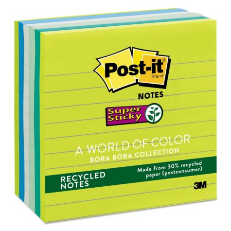 Post-it Notes Super Sticky - Recycled Notes in Bora Bora Colors, 4 x 4, 90/Pad -  6 Pads/Pack