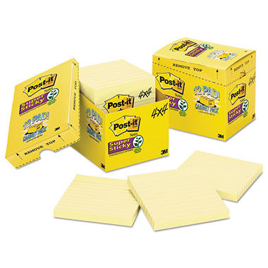 Post-it Notes Super Sticky - Canary Yellow Note Pads, 4 x 4, Lined, 90/Pad -  12 Pads/Pack