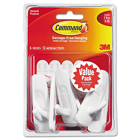 Command Hooks, Medium, 3 lb. Capacity, White (6 Hooks & 12 Adhesive Strips)