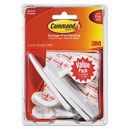 Command™ Hooks, Large, 5lb Capacity, White, 3 Hooks & 6 Adhesive Strips