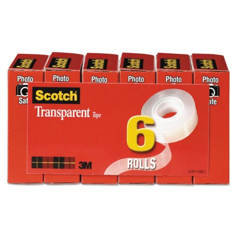 "Scotch - Transparent Tape, 3/4"" x 1296"", 1"" Core, Clear -  6/Pack"