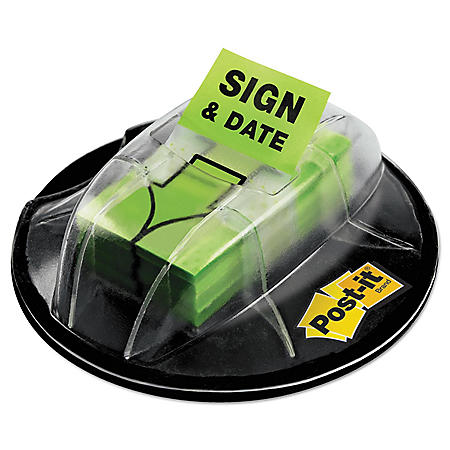 """Post-it - Flags in Dispenser - """"Sign & Date"""" - Bright Green - 200 Flags/Dispenser"""