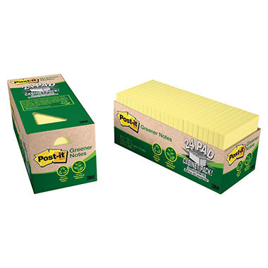 Post-it Greener Recycled Notes, 3 x 3, 75 Sheet Pads, 24 Pads, Canary Yellow