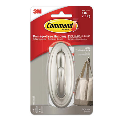Command™ Decorative Hook, Traditional Metal Coated, Large, 1 Hook & 2 Adhesive Strips