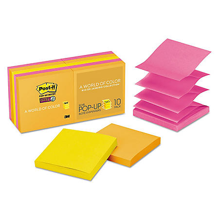 Post-it Pop-up Super Sticky Notes Refill, 3 x 3, 90 Sheet Pads, 10 Pads, 900 Total Sheets, Rio de Janeiro Collection