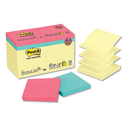 Post-it Pop-up Notes Original Pop-up Notes Value Pack, 3 x 3, Canary/Cape Town, 100-Sheet, 18/Pack