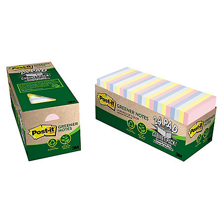 Post-it Greener Recyled Notes, 3 x 3, 75 Sheet Pads, 24 Pads, Helsinki Collection