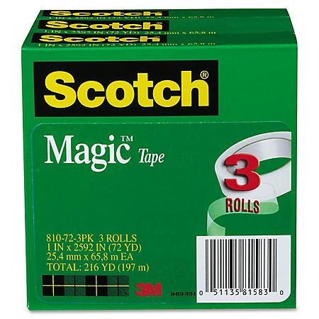 """Scotch - Magic Tape, 1"""" x 2592"""", 3"""" Core -  3/Pack"""
