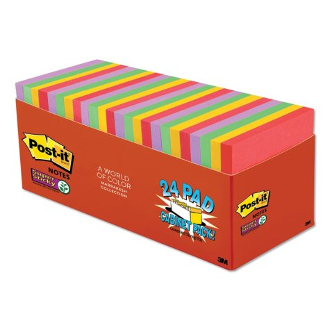 """Post-it Notes Super Sticky Pads, 3"""" x 3"""", Marrakesh Color Collection, 24 Pads, 1,680 Total Sheets"""