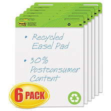 Post-it Easel Pads Self-Stick Easel Pads, 25 x 30, White, Recycled, 6 ct/30-Sheet Pads)