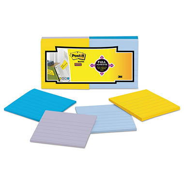 Post-it Notes Super Sticky - Full Adhesive Notes, 3 x 3, Ruled, Assorted New York Colors -  12/Pack