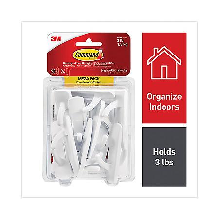 Command Hooks, Medium, 3lb Capacity, White, 20 Hooks & 24 Strips