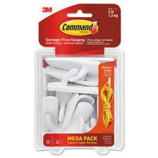 Command Hooks, Medium, 3lb Capacity, White, 20 Hooks & 24 Strips