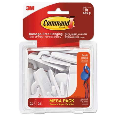 Command Hooks, Small, 1lb Capacity, White, 24 Hooks & 28 Strips