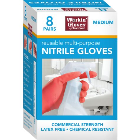 Workin' Gloves Reusable Multipurpose Nitrile Glove Medium (8 ct.)