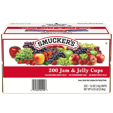 Smucker's Jam Assortment, Single Serving Packs (.5 oz., 200 pks.)