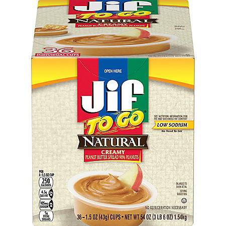 Jif-To-Go Natural Creamy Peanut Butter (36 ct.)