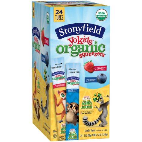 Stonyfield Organic YoKids Squeezers Lowfat Yogurt Variety Pack (2 oz., 24 pk.)