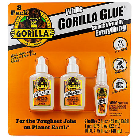 Gorilla Glue Dries White/Dries White Pen, 3 Pack