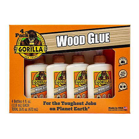 Gorilla 4oz Wood Glue, 4 Pack