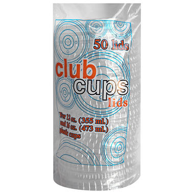 Club Cups 12 oz. & 16 oz. Clear Plastic Lids - 50 ct. - 10 pk.