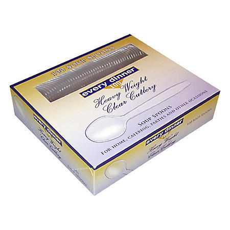 Every Dinner® Heavy Weight Clear Soup Spoons - 100 ct.