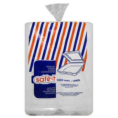 Safe-T Plain Foam Carry Out Containers - 100 ct.
