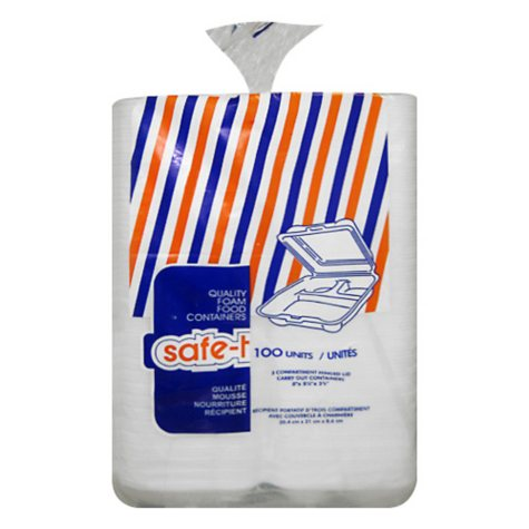 Safe-T Foam Carry Out Container w/Compartments - 100 ct.