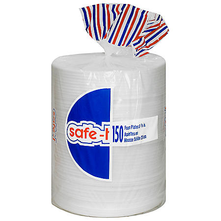 "Safe-T 8-7/8"" Plain Foam Plates - 150 ct."