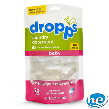Dropps Baby Laundry Detergent Pacs Scent Dye Enzyme Free 60 Loads