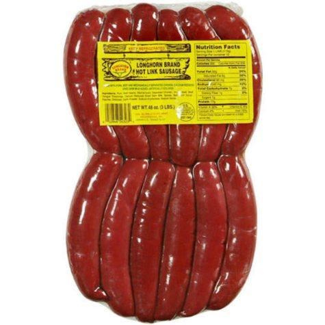 Longhorn Brand Hot Link Sausage - 3 lb. pack
