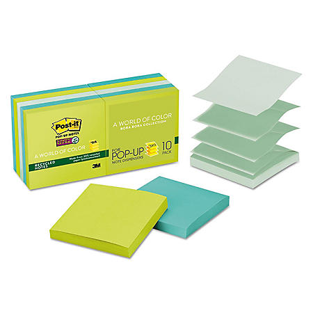 Post-it Pop-up Super Sticky Notes Refill, 3 x 3, 90 Sheet Pads, 10 Pads, 900 Total Sheets, Bora Bora Collection