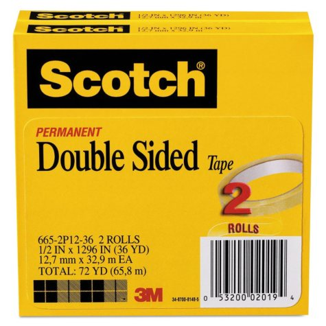 """Scotch - 665 Double-Sided Tape, 1/2"""" x 1296"""", 3"""" Core, Transparent -  2/Pack"""