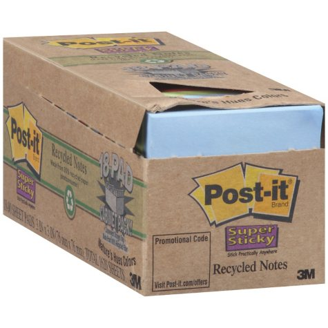 Post-it® Super Sticky Recycled Notes - 18 pads