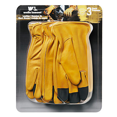Wells Lamont Grain Leather Glove - 3 pk. - Large
