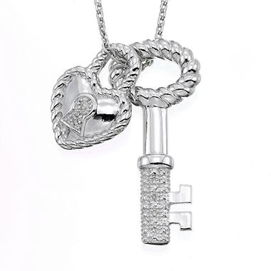 Sterling Silver & Diamond Accent Oval Key and Heart Lock Pendant