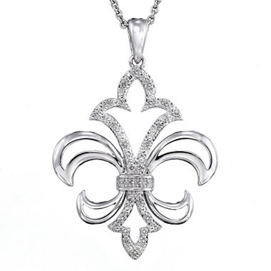 Sterling silver and diamond accent fleur de lis pendant sams club sterling silver and diamond accent fleur de lis pendant aloadofball