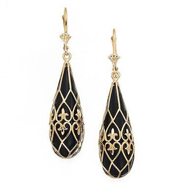 Onyx Heart Scroll Teardrop Earrings In 14k Yellow Gold Sam S Club